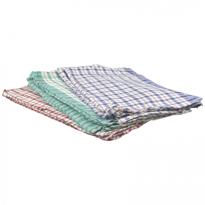 Cotton tea towels with black/coloured check