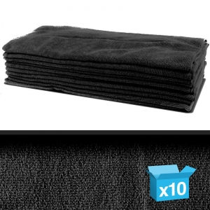 Pack 10 professional quality microfibre cloth 40x40cm -black