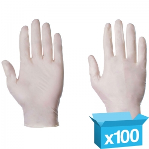 Latex powdered disp gloves Small