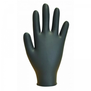 Black heavy duty strong latex powder free disp glove - Medium