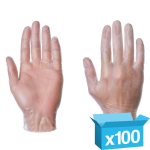 Clear Vinyl PF disposable gloves Large