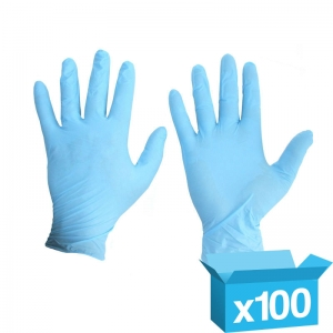 Blue Nitrile powder free disposable gloves Large