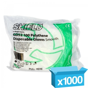 Clear Polyethelene disposable gloves large