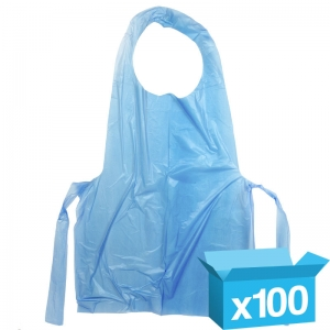 Blue disposable aprons flat pack