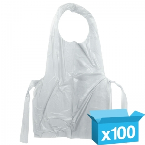 White disposable aprons flat pack