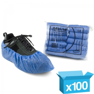 "Blue disposable overshoes 16"" CPE"