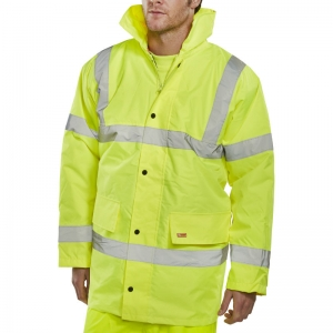 Yellow Hi-Vis Jacket, quilted with hood Large