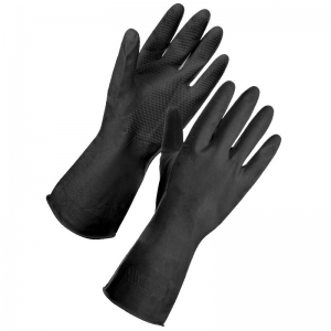 Black heavy duty rubber gloves Extra Large