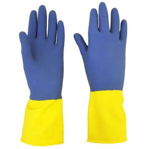 Heavyweight double dip household gloves blue/yellow Small