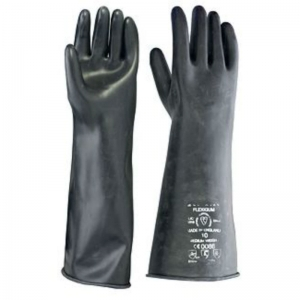 "Black rubber gauntlets 17"" mediumweight size 10 (L)"