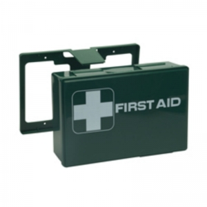 10 person first aid kit - with wall bracket & blue plasters