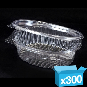 Clear hinged salad bowl 500ml oval