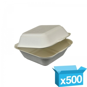 Eco-friendly fibre large burger box biodeg 120x120mm