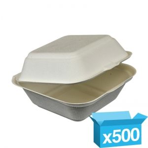 Eco-friendly fibre large burger box biodegradable 135x135x75