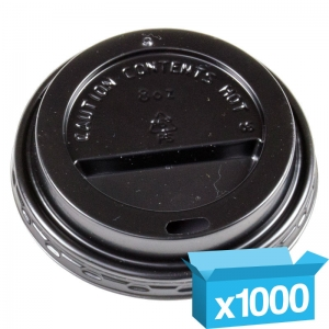 Domed black cappucino lids for 8oz hot cups