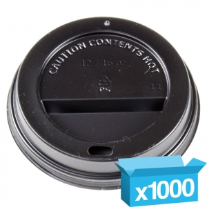 Domed black cappucino lids for 10-16oz hot cups