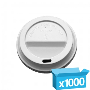 Domed white cappucino lids for 10-16oz hot cups
