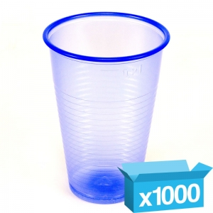 8oz clear blue plastic cups