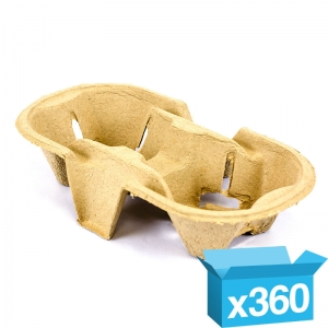 2-cup eggshell carry tray for hot drinks
