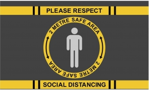 Covid-19 heavy duty floor mat - Stop sign social distancing - 200x200cm